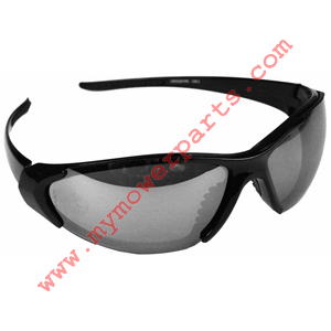 CORE CROSSFIRE, SILVER MIRROR LENS SAFETY SUNGLASSES, SHINY BLACK FRAME, HEAVY DUTY.