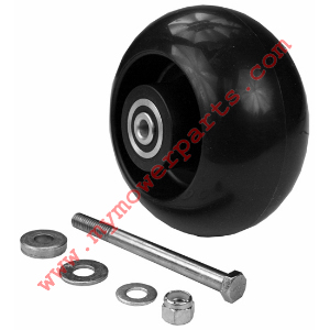 BLACK POLYPROPYLENE ANTI-SCALP WHEEL. W/HARDWARE Made of an extra strong polymer and a sealed bearing system making it the only wheel of its kind. 2-5/8 offset hub length WIDTH 2-3/4 HEIGHT 5 in BEARING ID 3/8